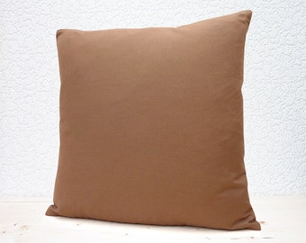 "Handmade 16""x16"" Cotton Cushion Pillow Cover in Plain Sable Brown"