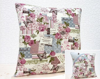 "Handmade 18""x18"" & 16""x16"" Cotton Cushion Pillow Covers in Dove Grey/Dusky Pink Vintage Effect Botanical Linen Design Print"