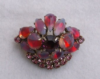 Vintage Pink and Purple Rhinestone Brooch Pin