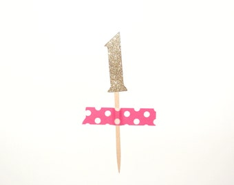Gold/Silver number cupcake toppers Set of 15