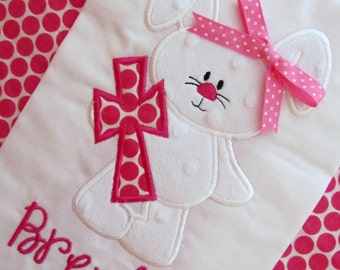 Easter Bunny With Cross Polka Dot Minky Ribbon Personalized Appliqued Embroidered Shirt