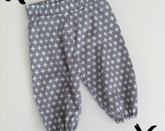 Grey Cross Harem Pants