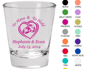 Personalized Shot Glasses (Clipart 1124) To Have and To Hold - Wedding Favors - Custom Glassware - Shot Glasses