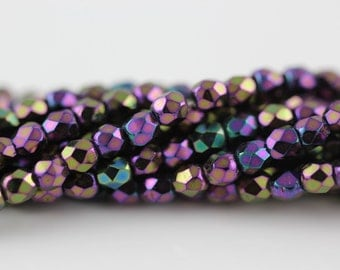 50 Iris Purple, 3mm Czech fire-polished glass faceted round beads (A-4F)
