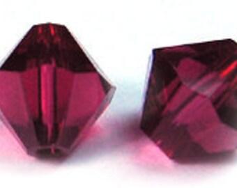 Ruby~6 mm Xillion Bicone (5328) Genuine Swarovski crystals. you choose size.
