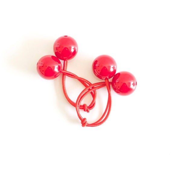 RED BOBBLES. Hair ties. Elastic hair ties. Funky. Red. Retro style hair bobbles.