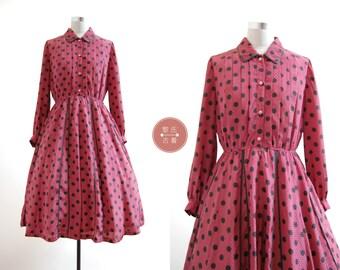 Polka Chinoise Dress | m/l | 1970s japan vintage | wine red polka dots tea dress