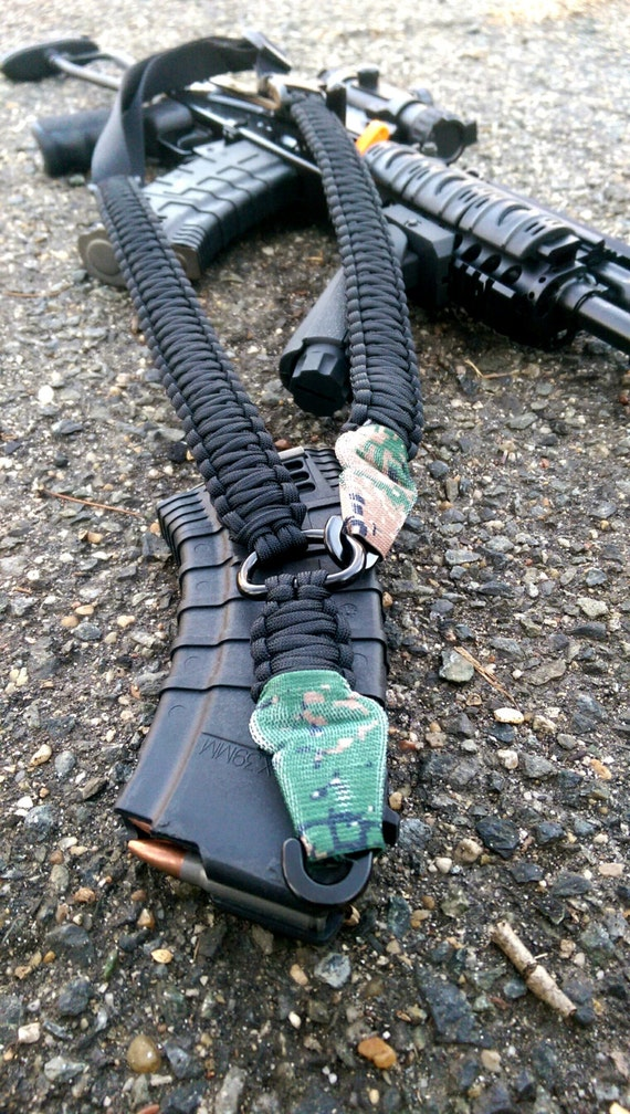 1 and 2 point 550 paracord rifle slings with elastic cover. Black Bedroom Furniture Sets. Home Design Ideas