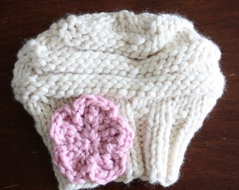 Handmade Slouchy Knit Hat with Hand-Crocheted Accent Flower Toddler to Adult sizes Choose your colors