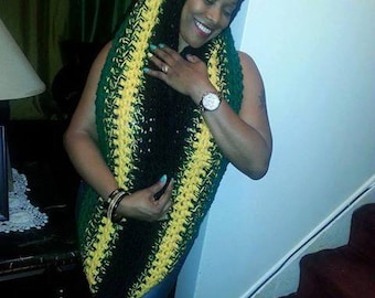 Based in NYC - Hot Rocking Jamaican Styled and Colored Handmade Crocheted Infinity Scarf. Can be made with a Pocket and Hood - A must have