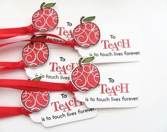 Teacher Gift Tags, Teacher Favor Tags, Gift Tags,Apples,To Teach Is To Touch Lives Forever
