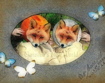 Always There to Hold You Up - Anthropomorphic, Collage, Fairy Tale Art, Print, fox, twins