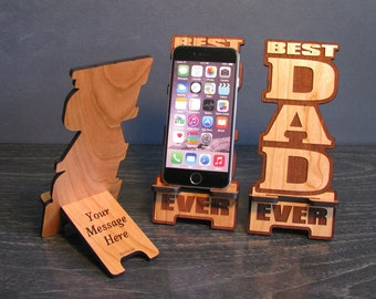 Fathers Day Gift Idea For Dad Phone Stand with Personal Message On Back - Personalized Phone Dock Fits all Smartphone iPhone Galaxy