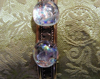 Dichroic glass on copper bracelet
