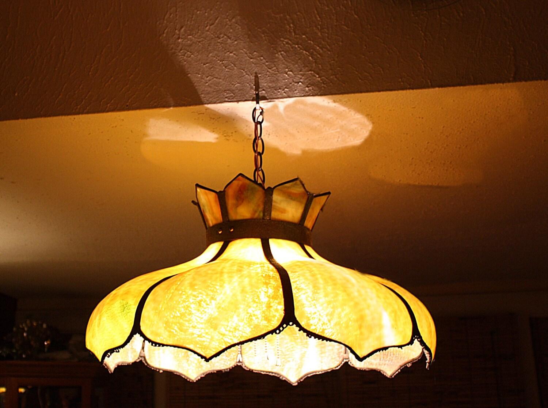 Antique Slag Glass Ceiling Fixture Lead Frame By