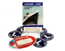 1960 Cunard White Star Steamship Cruise Line Embarkation Notice and Six Baggage Stickers