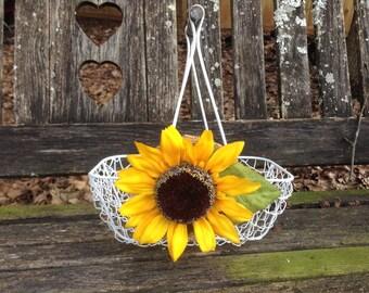 Sunflower Wedding Flower Girl Basket / Rustic Wedding / Rustic Flower Girl Dress / Country Barn Wedding Decor