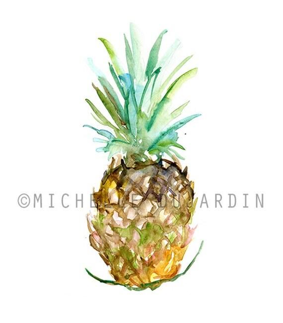 Ananas Aquarel - Origineel - Waterverf ananas - Zen aquarel - fruit ...