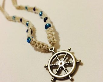 White Macrame Hemp Necklace made with Blue Beads and a Wheel Pendant, Hemp Necklace, Hemp Jewelry, Beaded Jewelry