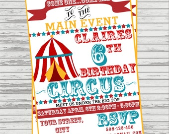 Circus or Carnival Theme Custom DIGITAL Invitation. Vintage look