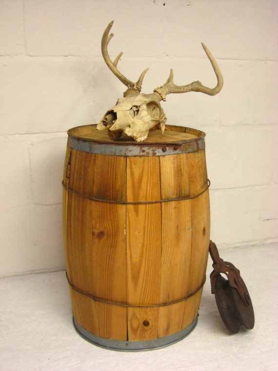 Vintage Wood Barrel Wooden Barrel Plant Stand Nail Keg
