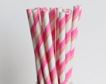 Pink and Hot Pink Striped Paper Straws-Pink Straws-Hot Pink Straws-Striped Straws-Party Straws-Shower Straws-Wedding Straws-Mason Jar Straws