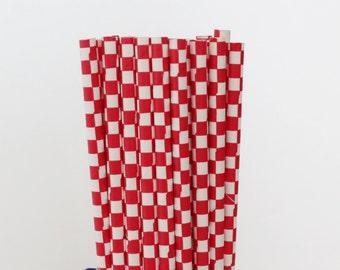 Red Checkered Paper Straws-Red Straws-Checkered Straws-Party Straws-Mason Jar Straws-Wedding Straws-Shower Straws-Cake Pop Sticks