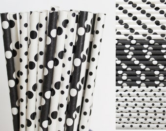 Black and White Paper Straw Mix-Black Polka Dot Paper Straws-Black Mason Jar Straws-Dalmatian Party Straws-Black and White Wedding Straws