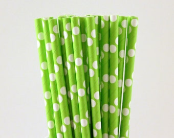 Lime Green with Large White Polka Dot Paper Straws-Lime Green Straws-Polka Dot Straws-Summer Straws-Super Hero Party Straws-Cake Pop Sticks