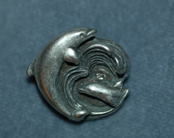 Dolphin Button. Pewter Button. Size 1 1/8""