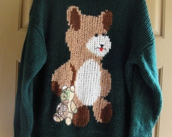 Vintage hand knit teddy bear sweater plus size 1x green cute heavy warm