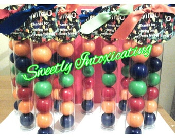 12CT. Paintball AMMO gumball party favors with paintball splatter tags & bright ribbon to match. Little artist favors, paintball table decor