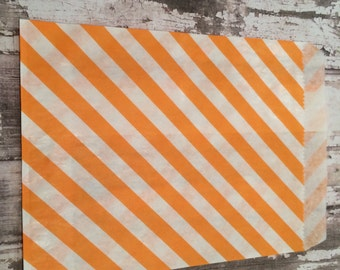 25 Orange Diagonal Stripe Paper Candy Bags, Unlined, Medium Size Bags.  Favor Bags, Party, Wedding, Shower, Candy, Baked Goods
