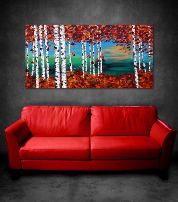 "Birch Trees Painting CLEARANCE Aspen Trees Absract Landscape Forest painting, art by Susie Tiborcz 24"" x 48"""