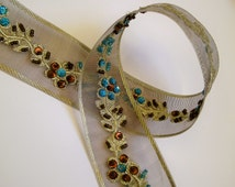 1 m Bollywood embrodery Trim 44 mm w. beads sequins