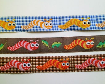 "1 m Woven Ribbon "" Caterpillar"" 16 mm w."