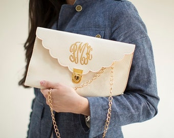 SALE: Cream Scalloped Monogram Clutch Purse!!