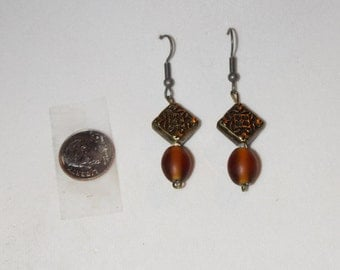 Glass and Metal Bead Dangle Earrings