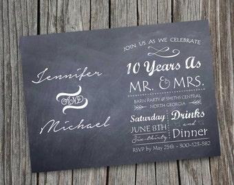 Diy PRINTABLE CHALKBOARD PARTY Invitation Design Pdf Rustic Country Wedding Template Anniversary Vow Renewal Vintage