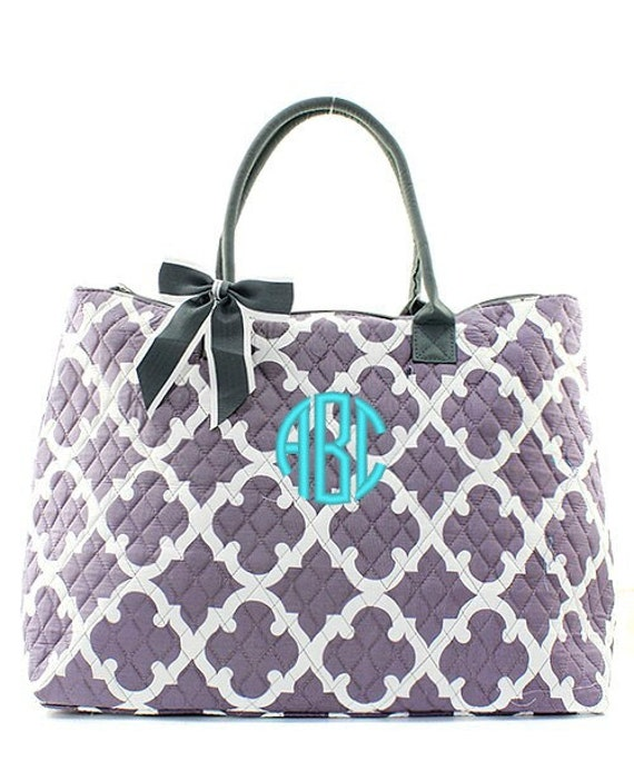 monogrammed quilted tote bag personalized quatrefoil moroccan