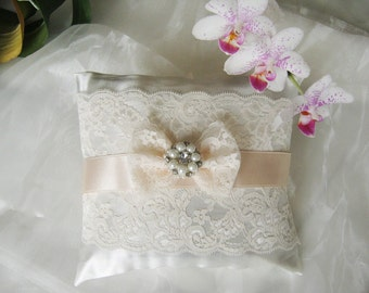 Satin wedding ring pillow, Romantic lace wedding  Ring bearer pillow, Ivory lace  pillow