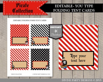 INSTANT DOWNLOAD Pirate Editable Folding Tent Cards / Add Your Own Text / Printable DIY / Pirate Collection / Item #803