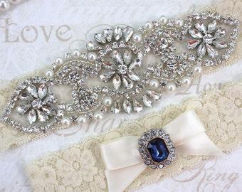 Grace - Sapphire Blue Garter Set, Wedding Stretch Lace Garter, Rhinestone Crystal Bridal Garters, Keepsake And Toss Garter