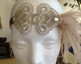 Beige Great Gatsby headband, beige ostrich feather headpiece , 1920s fascinator, flapper headband, beaded headband, Art Deco bridal wedding