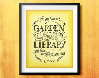 If You Have a Garden and a Library Cicero Printable Quote (Lettering, Illustration)