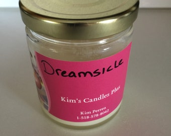 6 Oz Dreamsicle scented soy candle in glass jar