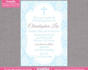 Baby Blue Boy Baptism Invitation  First Communion Christening Invite / Confirmation Invitation- Baby Blue Damask Invitation- Digital File