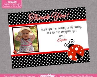 Lady Bug / Ladybug Thank You Card with Picture Printable (Red & Black)- Printable Digital File