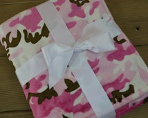 Pink, Brown and White Camouflage Print Baby Blanket 29x35... Personalized Baby Girl Minky Blanket