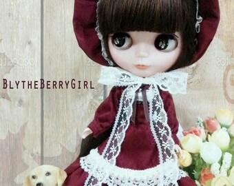 Blythe marsala red lolita babydoll vintage dress set